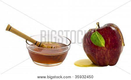Honey and apple are symbols of Jewish New Year - rosh hashanah