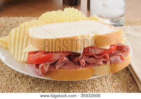 Pastrami Sandwich And Potato Chips