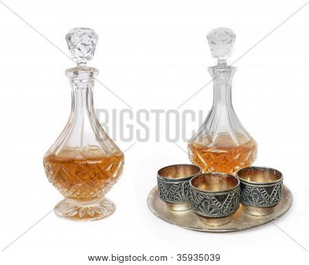 Glass Decanter And Three Vintage Melchior Cups