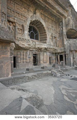 Facade Of Ancient Rock Temple