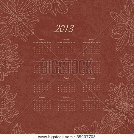 Vintage Retro Calender Of 2013 New Year Vector