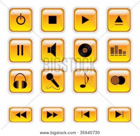 Botones de Control de música naranja