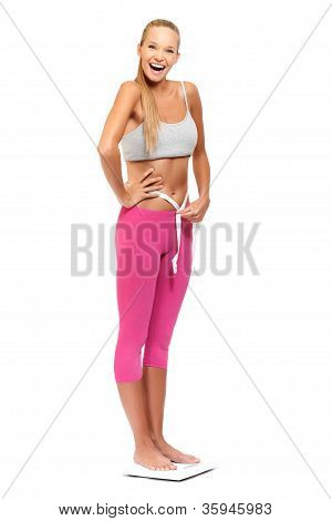 Happy Slim Woman Smiling On White Background