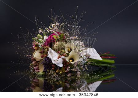 Bunch Of Flowers, With Reflexion, On Black Background, Studio Shot