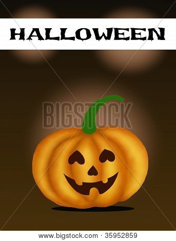 Halloween Banner and Jack-o-Lantern Pumpkins