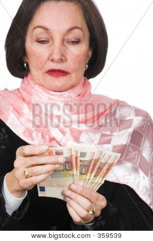 Business Woman Counting Cash