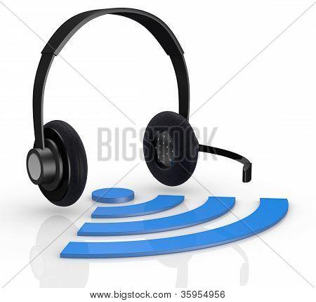 Wireless Symbol And Headphones