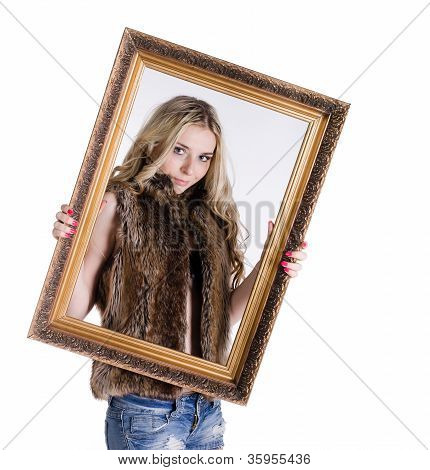 Blonde Girl Holding A Frame