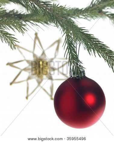 Decorative Theme With Red Christmas Bauble