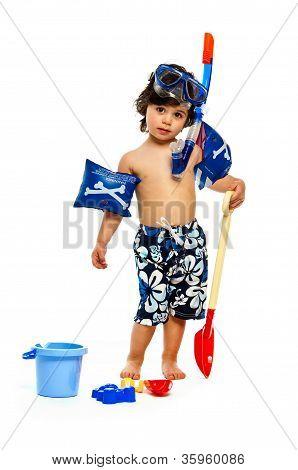 Young Boy Playing In Swimwear Isolated On A White Background