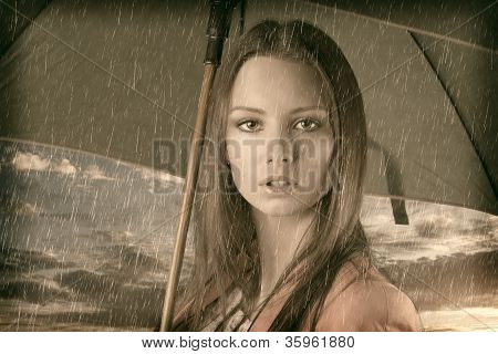 Vintage Close Up Nice Young Girl Under Rain