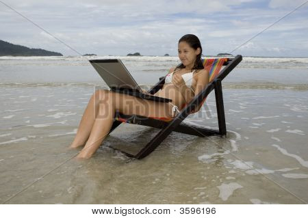Teenager, Vacation With Laptop