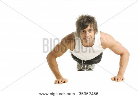 Man Working Out Isolated On A White Background