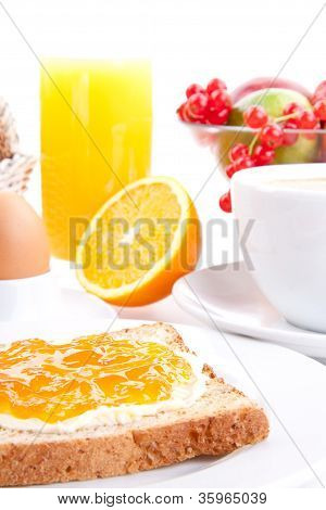 Breakfast Table With Toast And Orange Marmelade Isolated