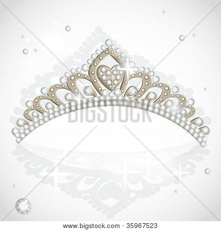 Shining vector tiara with diamonds