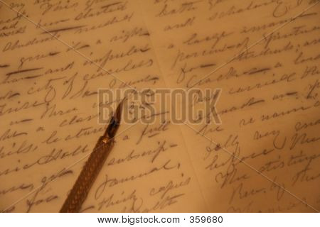 Pen Nib Over Written Text