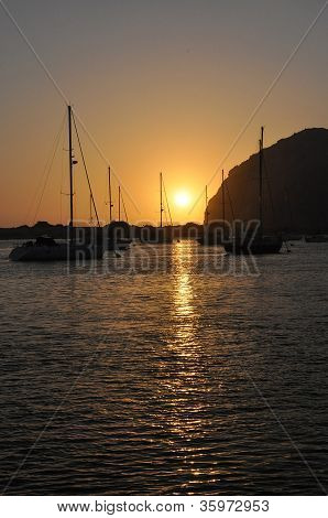 Morro rock and sunset