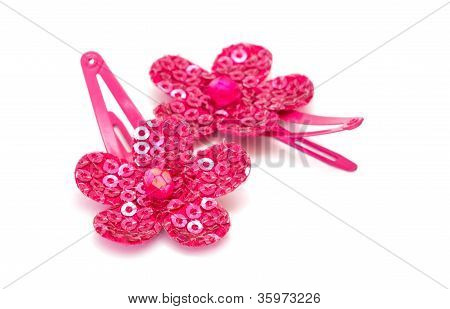 Pink Barrettes Isolated On White Background