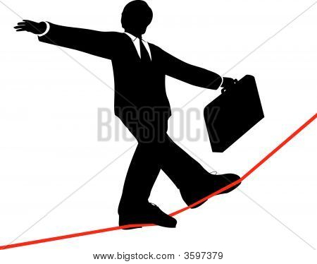 Business Man Balances Briefcase To Walk Risky High Wire.Eps
