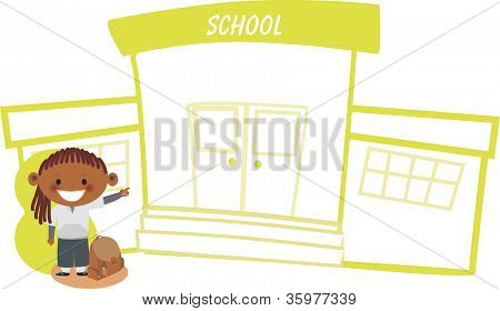 A Girl Infront Of A School