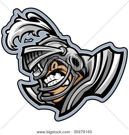 Mascota de American Football caballero llevaba casco con armadura Vector Illustration