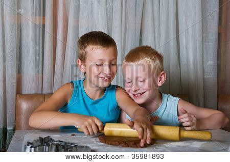 Two Boys Baking Cookies