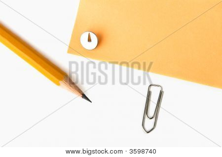 Yellow Pencil, Knob And Yellow Paper