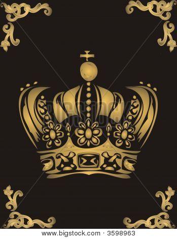 Golden Crown On Black Background