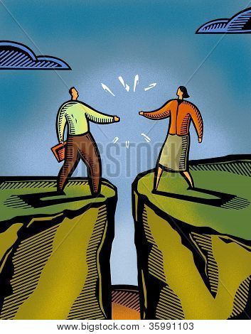 A Man And A Woman Meeting Over A Crevasse