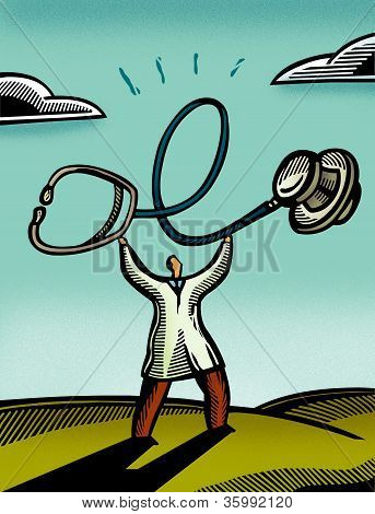 Doctor Holding Up A Giant Stethoscope