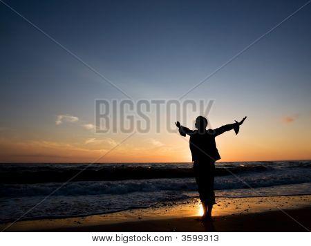 Happy Woman At Seashore