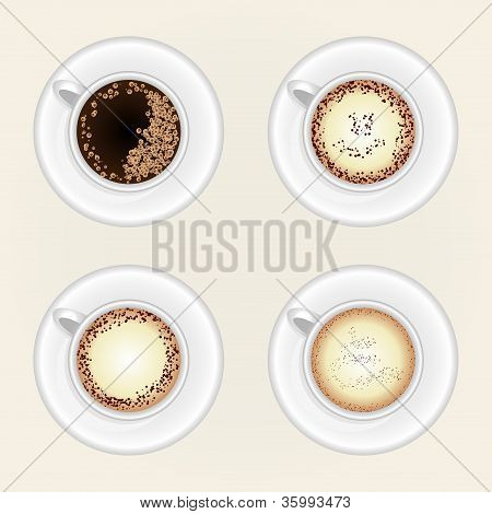 Top View Of Black Coffee Cup Isolated On White Background. Photo-realistic Vector.