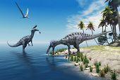 picture of behemoth  - A large fish is caught by a Suchomimus dinosaur while a flying Pterosaur dinosaur watches for scraps to eat - JPG