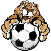 picture of cougar  - Graphic Mascot Vector Image of a Friendly Cougar or Mountain Lion with Paws on a Soccer Ball - JPG
