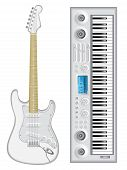pic of stratocaster  - Isolated image of guitar and synthesizer - JPG