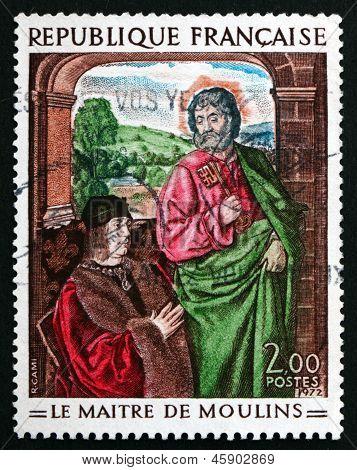 Postage Stamp France 1972 St. Peter Presenting Pierre De Bourbon
