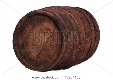 Very Old Wooden Barrel With Rusty Fittings