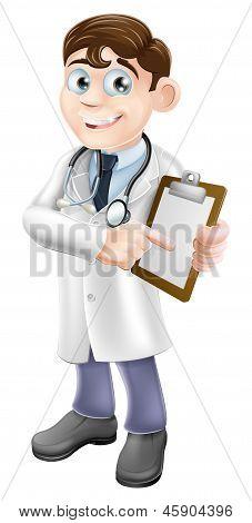 Doctor Holding Clipboard Cartoon