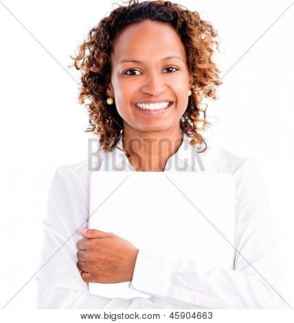 Business woman holding a laptop - isolated over white background