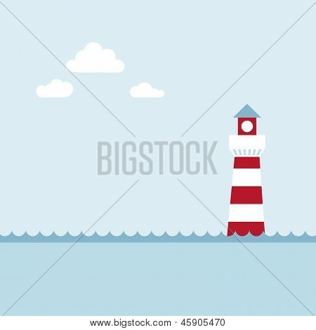 Lighthouse on the sea fairy shore.