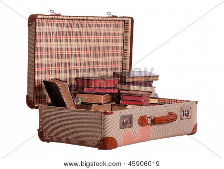 Old Suitcase Stuffed With Old Books