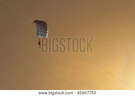 Parachute Diver At Sunset