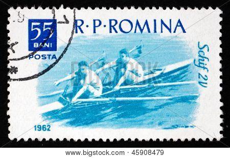 Postage Stamp Romania 1962 2-man Skiff, Water Sport