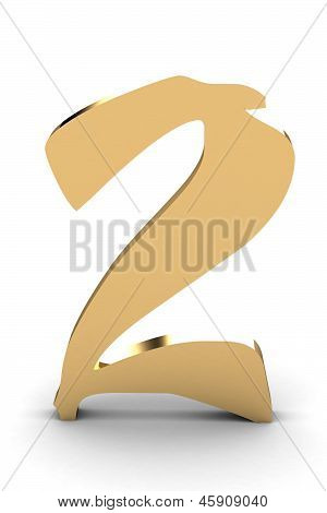 3D Rendering Of The Number 2 In Gold Metal