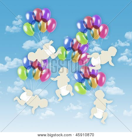 Five White Babies Flying On Colorful Balloons In The Sky