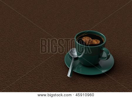 Cup Coffee On Background Of The Leather Surface