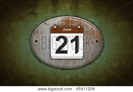 Old Wooden Calendar With June 21.