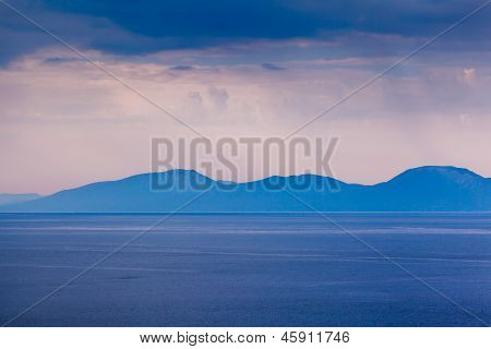 Island Of Brac Sillouette In The Rainy Morning, Croatia