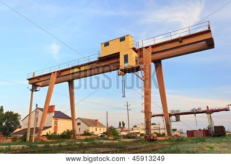 railway crane in Russia against the blue sky