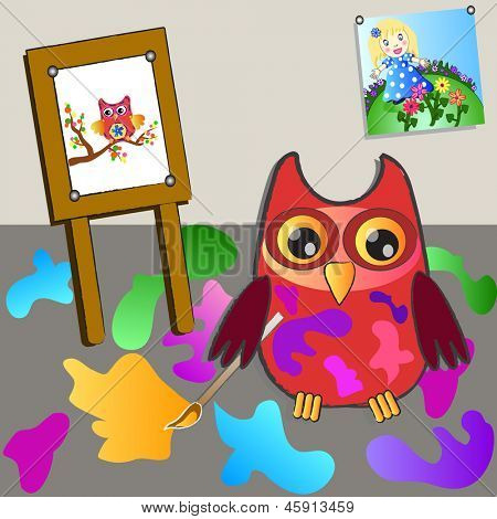 little sweet owl of painting.